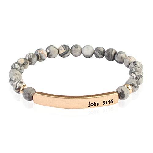 RIAH FASHION Inspirational Bar Natural Stone Stretch Prayer Bracelet - Christian Religious Message Adjustable Cuff Bangle Amazing Grace/Blessed/Faith/Love/Hope/Bible (John 3:16 - Gray)