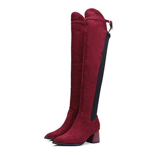 AllhqFashion Mujeres Gamuza(Imitado) Caña Alta Sólido Hebilla Tacón Medio Botas Rojo