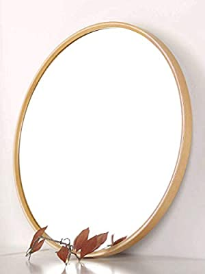 TinyTimes Wooden Wall Mirror, Round Vanity Mirror, Large, Clean, Decor, for Washrooms, Living Rooms, Bathroom and More, Round Wall Mirror