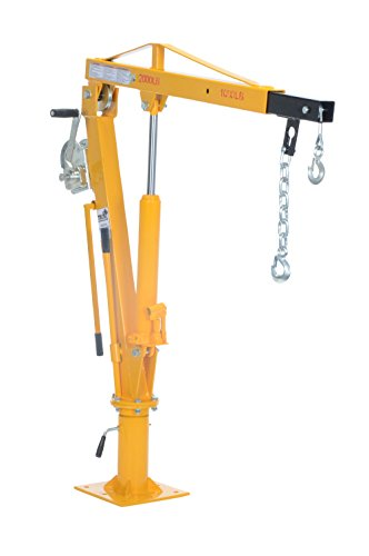"Vestil WTJ-4 Painted Steel Winch Truck Jib Crane, 1000 lb Extended Capacity, Extended Usable Reach 46"", Extended Maximum Hook Height 77-1/2"", Yellow"