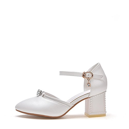 ASL04675 Toe Glattleder Damen Leichte Sandalen Weiß Sandalen Mode Closed BalaMasa nwq8BHgFtx