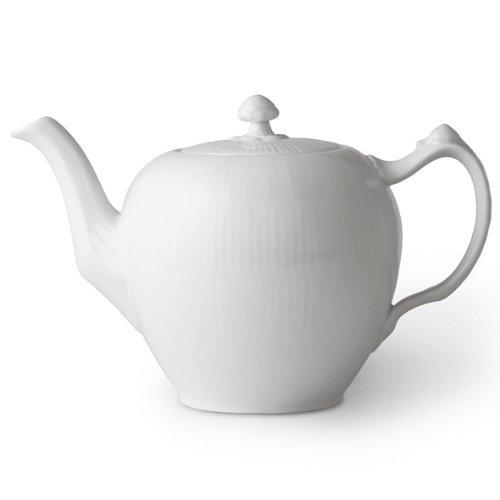 Royal Copenhagen White Fluted Plain Tea Pot by Royal Copenhagen