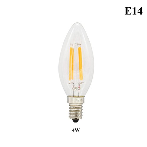 Inverlee E14/E27 Warm White LED Filament Bulb Globe Candle Lights 2-8W Lamp 220V Home Festival Decoration (B)
