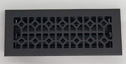 "Madelyn Carter Roman Floor Registers""Cast Iron Look"" (Cast Aluminium) 4"" x 12"" (Overall Size: 5-1/2"" x 13-1/2"")"