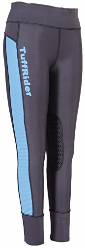 Tuffrider Horse (TuffRider Ladies Marathon Tight | Women Horse Riding Equestrian Breeches - Charcoal/NeonBlue - X-Large)