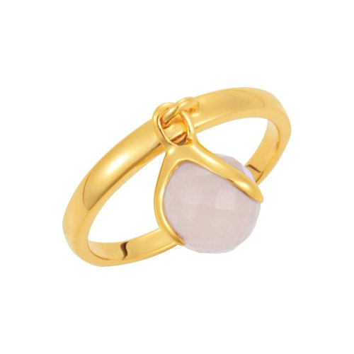 18K Yellow Gold Vermeil Rose Gold Chalcedony Ring Size 6