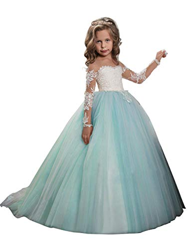 (Abaowedding Lace Embroidery Sheer Long Sleeves Kids Trailing Gowns (Aqua,)