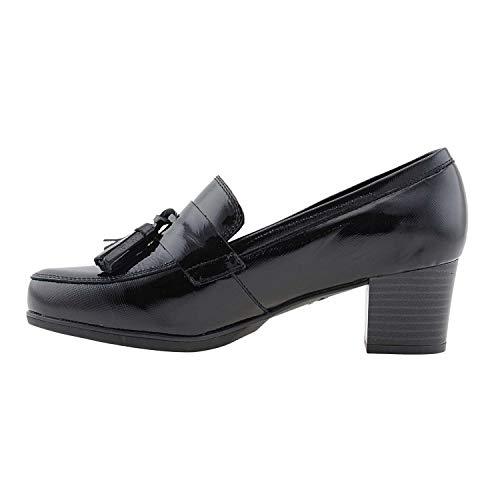 Piel Y Borlas Zapatos Zapatos Piel Negro SEqwa7