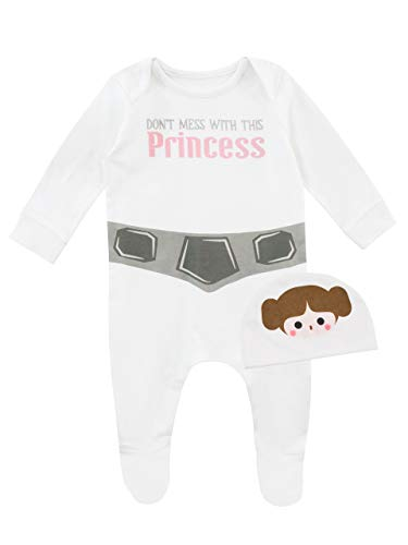 Star Wars Baby Girls' Princess Leia Footies and Hat Size 0-3M White -