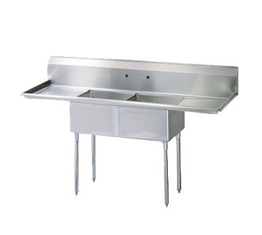 Turbo Air Stainless Steel 72'' Wide Two Compartment Sink