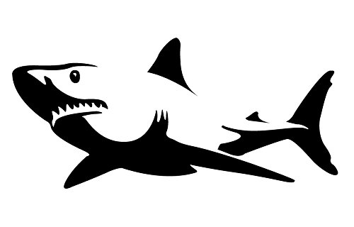 Tiger Shark Fiberglass - Auto Vynamics - BMPR-SHARK-8-GBLA - Gloss Black Vinyl Detailed Swimming Shark Sticker / Decal - Open Mouth Design - 8-by-3.75-inches - (1) Piece Kit - Single Decal