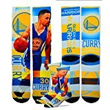 Steph Curry #30 Golden State Warriors NBA For Bare Feet Pro Stripe Adult Socks by For Bare Feet