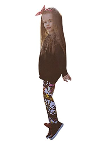 Kid Baby Girls Outfit Clothes Warm Long Sleeve T-shirt Tops+Print Long Pants Set (7T/ 7Years, Black)