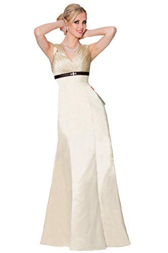 SEXYHER una l¨ªnea princesa con cuello en V de damas de honor vestido de noche formal -EDJ1656 Champagne-54DS