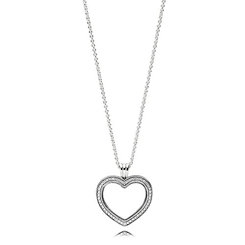 PANDORA Sparkling Floating Heart Locket, Sapphire Crystal Glass And Clear Cubic Zirconia,...