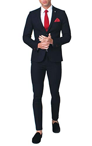 (Avail London Mens Navy 2 Piece Suit Skinny Fit Notch Lapel Bold Chalk Stripe (44R Jacket with 38R Pants))