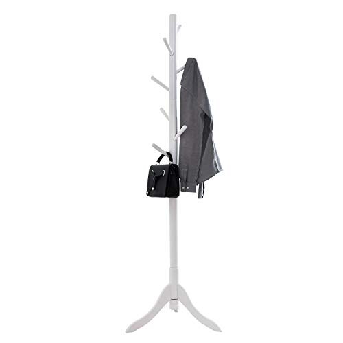 Vlush Free Standing Coat Rack, 8 Hooks Wooden Coat Hat Tree Coat Hanger Holder Enterway Hall Tree with Solid Rubber Wood Base for Coat, Hat, Clothes, Scarves, Handbags, Umbrella-White (Scarf Hanger Wooden)