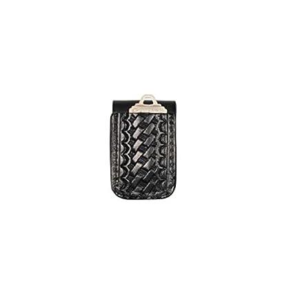 Boston Leather 5498-3 Black Basketweave Double Wide Belt Keeper Key Holder