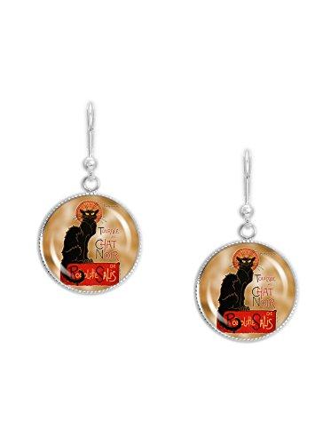 Earrings Black Noir (Le Chat Noir or The Black Cat Steinlen Poster Dangle Leverback Earrings w/ 3/4