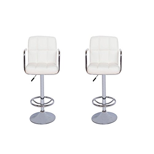 Vogue Furniture Contemporary White Quilted Vinyl Adjustable Height Bar Stool with Arms and Chrome Base, Set of 2 VF1581011-2 (Paris Dining Stool)