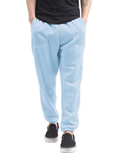 Hat and Beyond Mens Fleece Sweatpants Lightweight Elastic Jogger Loss Fit Drawstring Pants (1ih02_Sky Blue,Medium)
