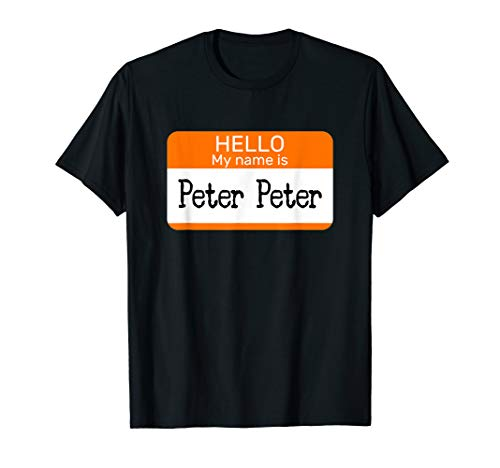 Halloween Is My Name (Hello My Name is Peter sticker name tag on a Shirt Pumpkin)