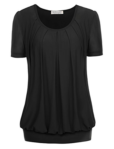 BaiShengGT Women's Short Sleeve Pleated Front Mesh Blouse X-Large Black