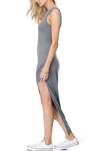 La Mujer Es Elegante Vestido De Verano Sin Mangas De Corte Irregular Maxi Boho Grey