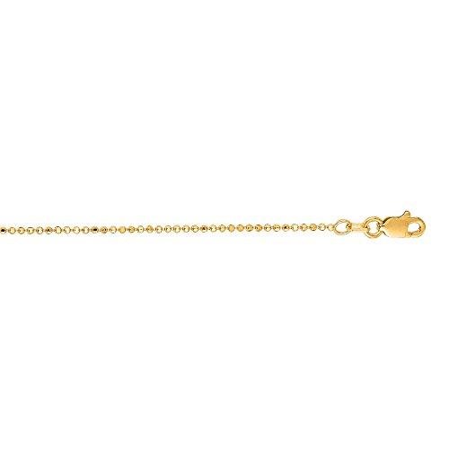 Luxurman 14K Yellow Solid Gold 1.2mm wide Diamond Cut Bead Chain 16