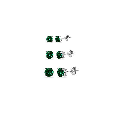 3-Pair Set Sterling Silver Simulated Emerald Round Stud Earrings, 3mm 4mm 5mm (Round Emerald Earrings Set)