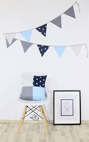 Taie d/'Oreiller d/écoratif en Coton, Multicolore, Motifs /étoiles /& Pois ULLENBOOM /® Housse de Coussin Patchwork 40x40 cm Bleu Clair Gris