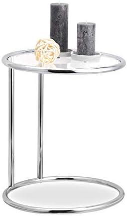 Voor Goedkoop Relaxdays, ronde bijzettafel, metalen frame, glasplaat, woonkamertafel, decoratie, designertafel, HxD 53 x 45 cm, standaard  rtg48cD