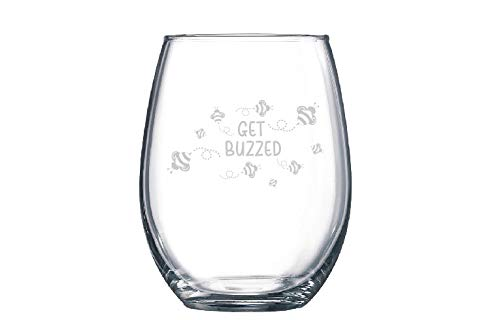 PotteLove Buzzed or Get Buzzed Bumble Bee Beekeeper Bee Lover Funny Wine Glass - Stemmed or Stemless Custom Text, 11 oz |