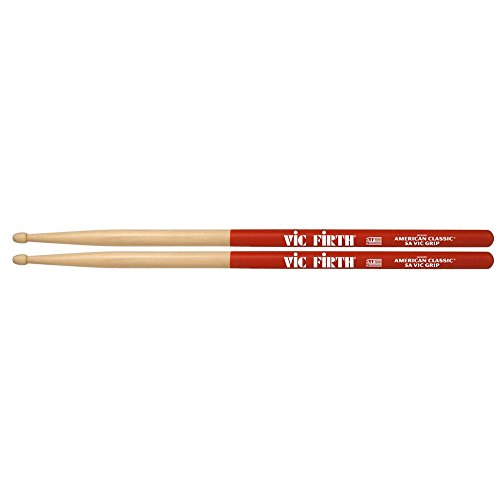 can Classic Drumsticks with Vic Grip, 5A Wood (Grip Drumsticks)