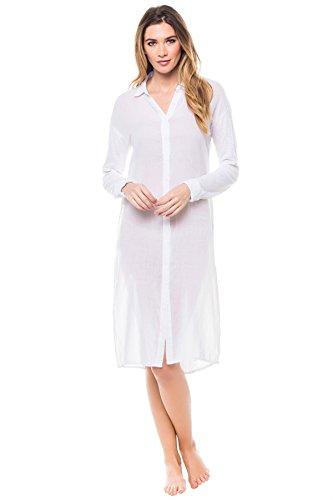 Stateside Women's Cottons Shirt Dress Swim Cover Up White M by Stateside (Image #1)