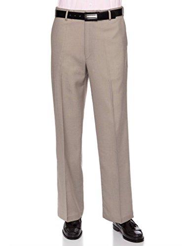 RGM Mens Flat Front Dress Pants – Wool Blend Long Formal Pants for Men, Made in US Tan 32 Short