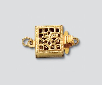 WireJewelry Gold Filled Clasp Filigree Square 8.5mm - Pack of 1