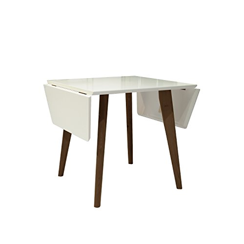 NPET Extendable Dining Table Mid-Century Modern Matte White and Teak Finish Indoor Table, Double Drop Leaf Design