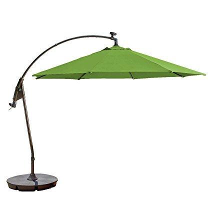 11-Foot Round Solar Cantilever Umbrella in Sunbrella Ginkgo