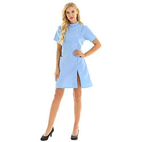 iEFiEL Women's Mandarin Collar Slanting Button Front Solid Color Hospital Nurse Scrub Lab Coat Uniform Dress Sky Blue X-Large