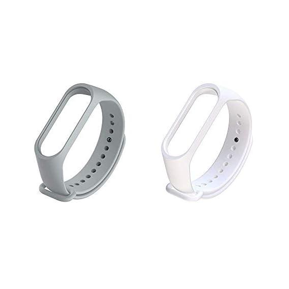 Liddu Wristband Band Straps for Xiaomi Original Mi 3 & Mi 4 Bands (Combo Pack, Pack of 2) (Grey White, Xiaomi Mi Band 4)