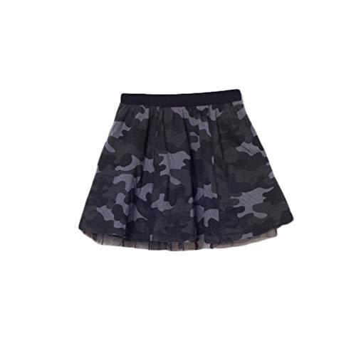 bossini Girls Camouflage Skirt, Tutu Dress Camo Reversible Summer Dancing for Toddler Baby Gir Black,Size 140,US Size 12