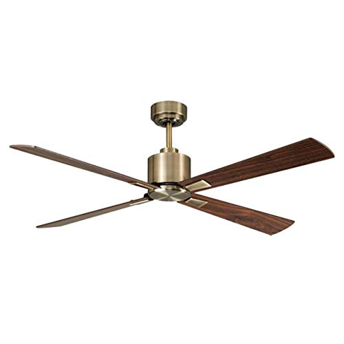 Lucci Air 210522010 Climate 4 Blade Indoor DC Motor Ceiling Fan with Remote Control 52 , Antique Brass with Walnut,