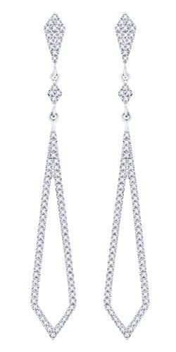 Rount Cut White Natural Diamond Pave Open Arrow-Stiletto Dangle Earring in 14K White Gold (0.39 Ct)