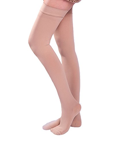 Ailaka Closed Toe Thigh High 20-30 mmHg Compression Stockings for Women and Men, Firm Support Graduated Varicose Veins Socks, Travel, Casual-Formal Hosiery (Beige, Small)