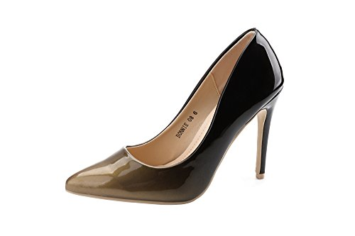 - Mila Lady (BONNIE08 Women Fashion Embellished Sparkles Contrast Color Pointed Toe Pumps High Heel Stilettos Sexy Slip On Dress Shoes, Bronze/BK7