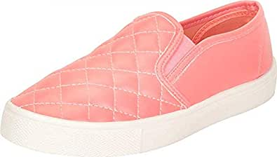 Cambridge Select Women's Quilted Round Toe White Sole Slip-On Flatform Fashion Sneaker Pink Size: 6.5