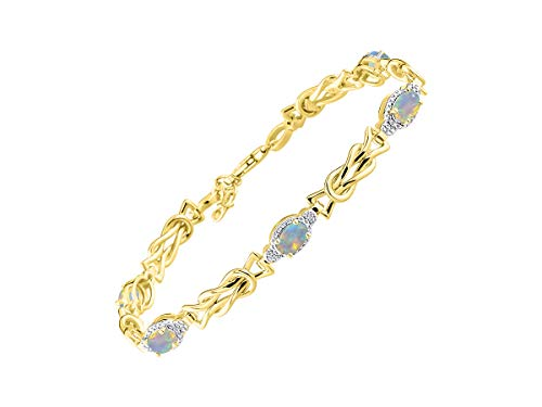 Stunning Exotic Ethiopian Opal & Diamond Love Knot Tennis Bracelet Set in Yellow Gold Plated Silver - Adjustable to fit 7