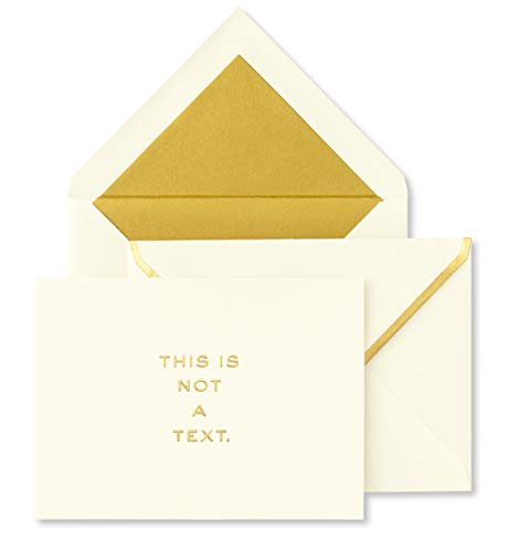 Kate Spade New York Greeting Card Set of 10, This Is Not A Text, Gold