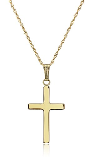 14k Yellow Gold Solid Polished Cross Pendant Necklace, 18